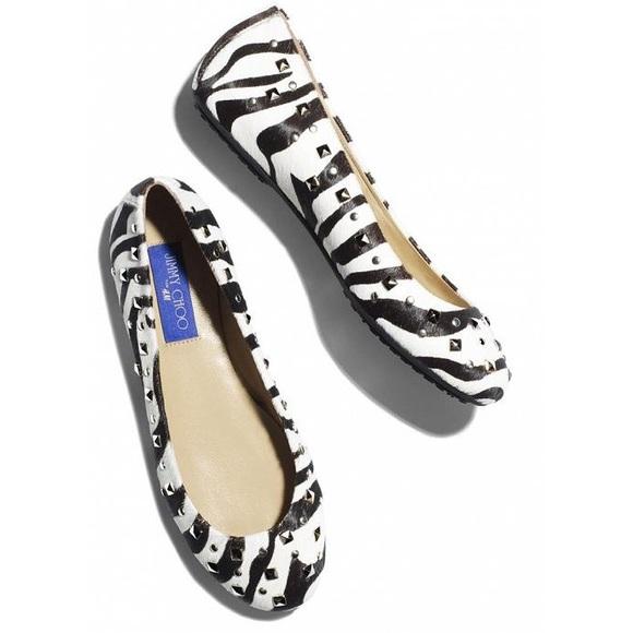 JIMMY CHOO FOR H&M Zebra Print Studded Ballet Flat